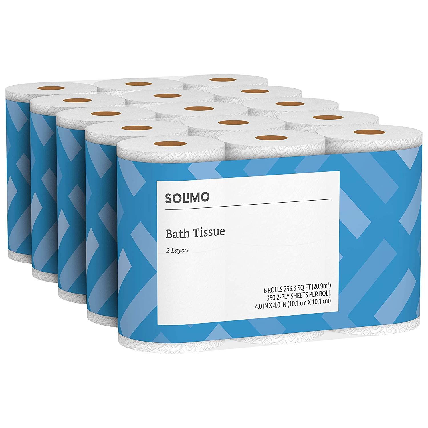 Amazon Brand- Solimo 2-Ply Toilet Paper, 350 Sheets per Roll, 30 Count