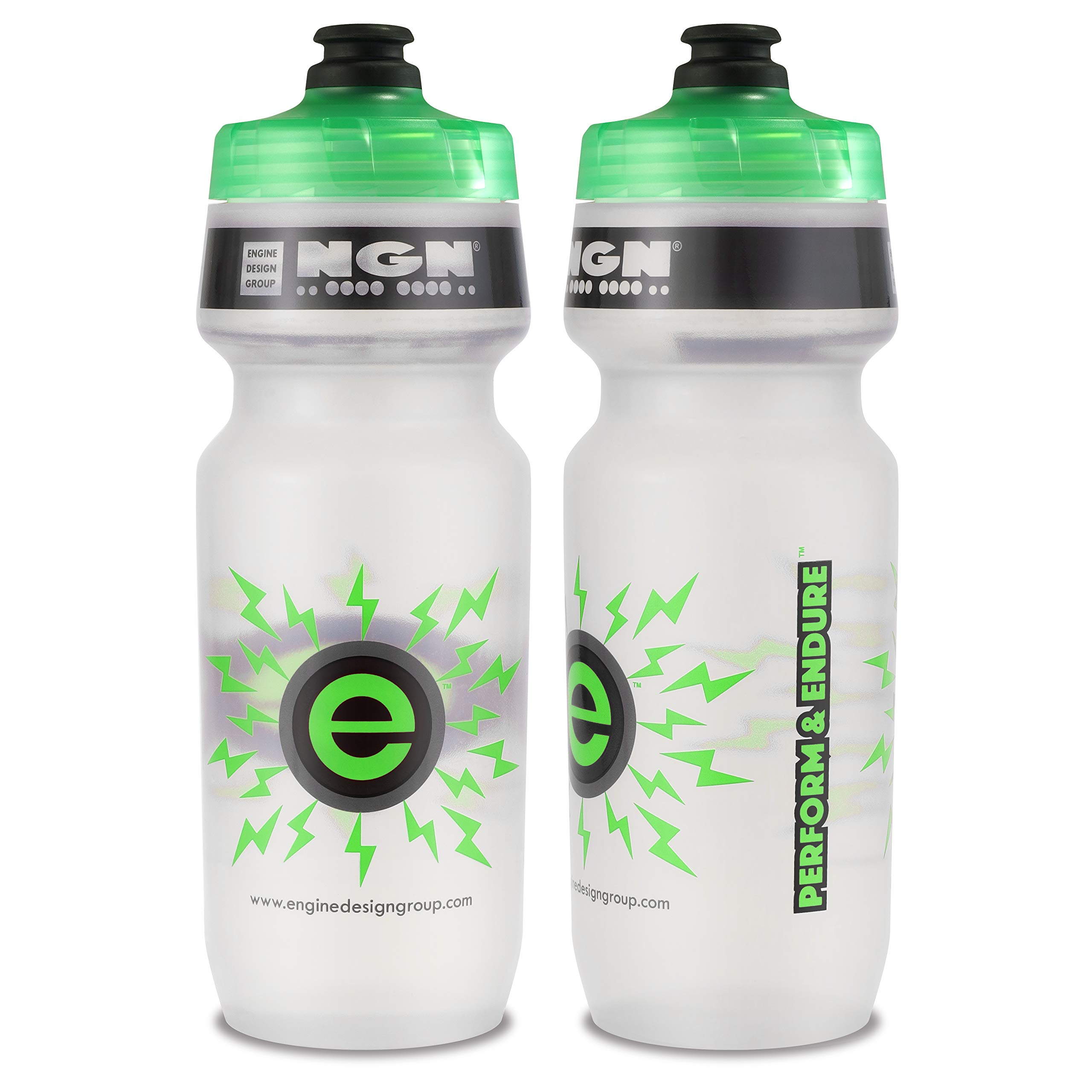 Engine Design Group NGN Sport - High Performance Bicycle/Bike Water Bottle for Triathlon, MTB, and Road Cycling - 24 oz (Clear/Green 2-Pack) by Engine Design Group