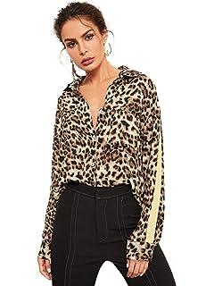 89608dc8231571 Floerns Women's Long Sleeve Button Down Sheer Leopard Print Chiffon Blouse