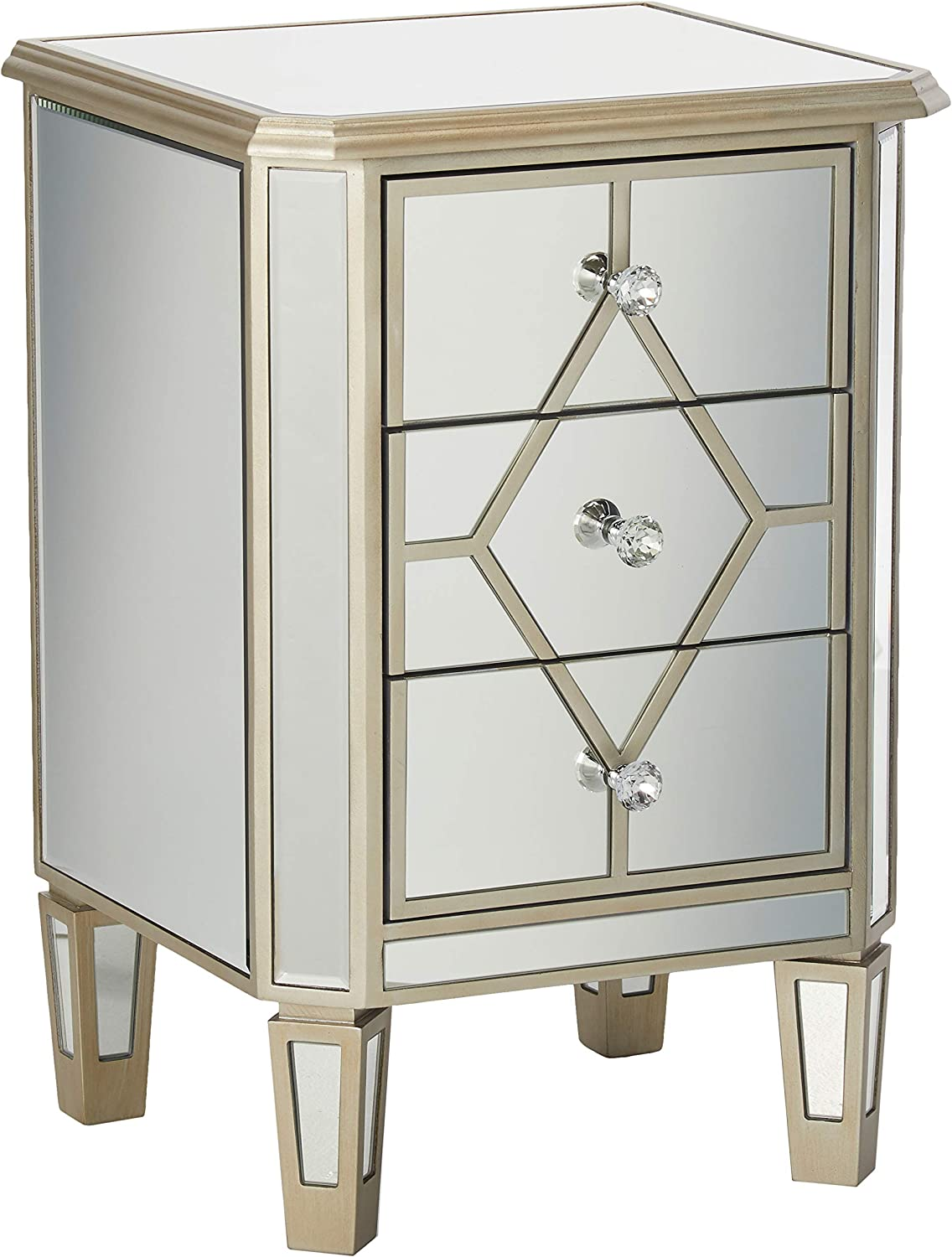 Christopher Knight Home Sohan Silver Finished Mirrored 3 Drawer Cabinet with Faux Wood Frame, Multicolor