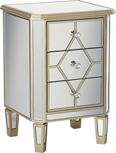 Christopher Knight Home Sohan Silver Finished Mirrored 3 Drawer Cabinet