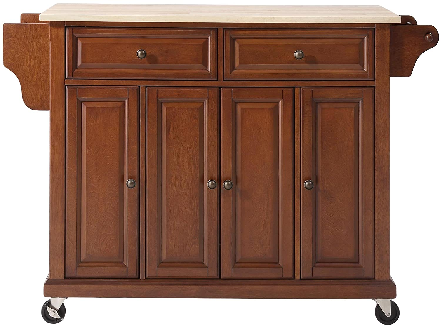 Crosley Furniture Rolling Kitchen Island with Natural Wood Top - Classic Cherry