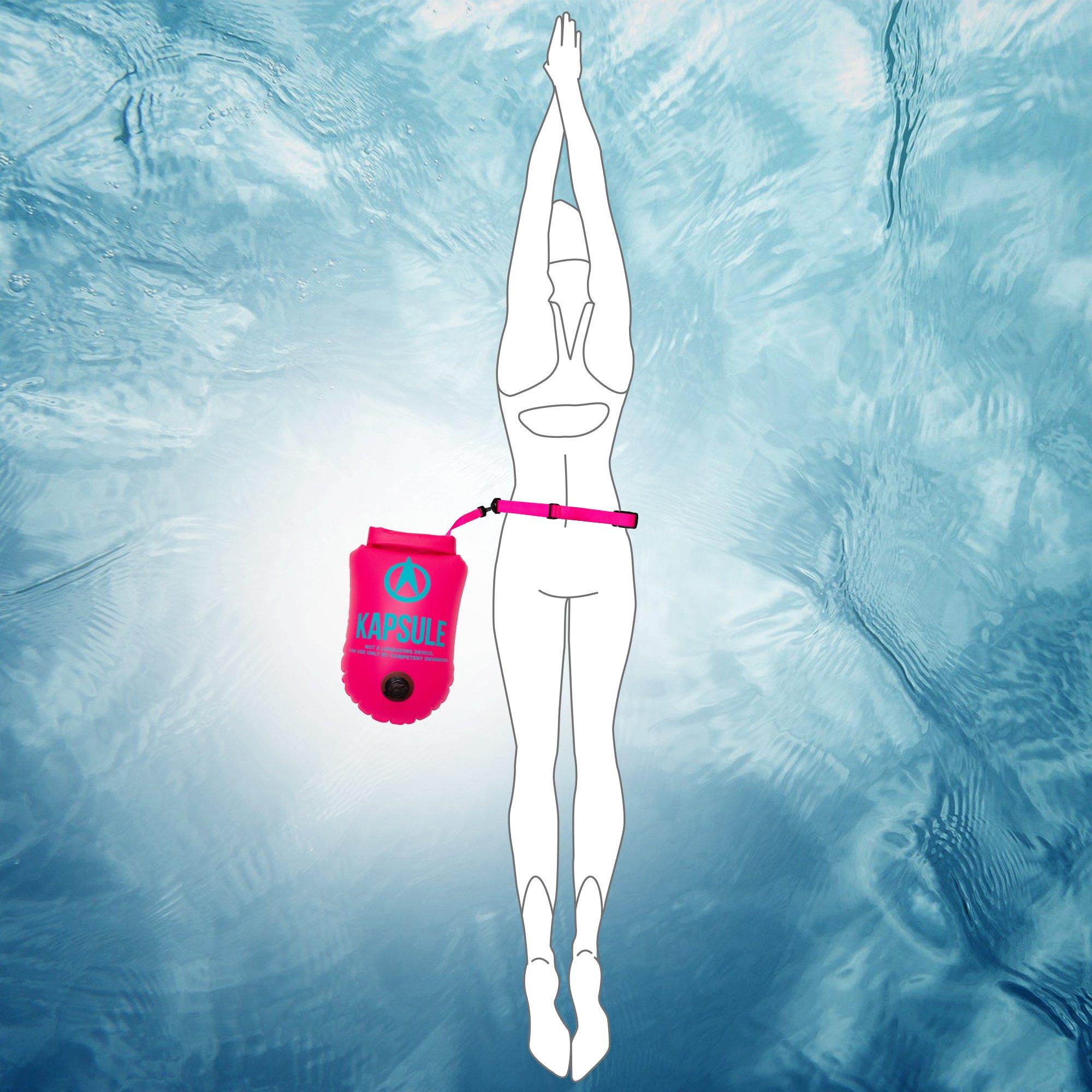 KAPSULE Swim Buoy (NEON 20L Orange) - Personal Swimming Float and Dry Bag by KAPSULE (Image #5)