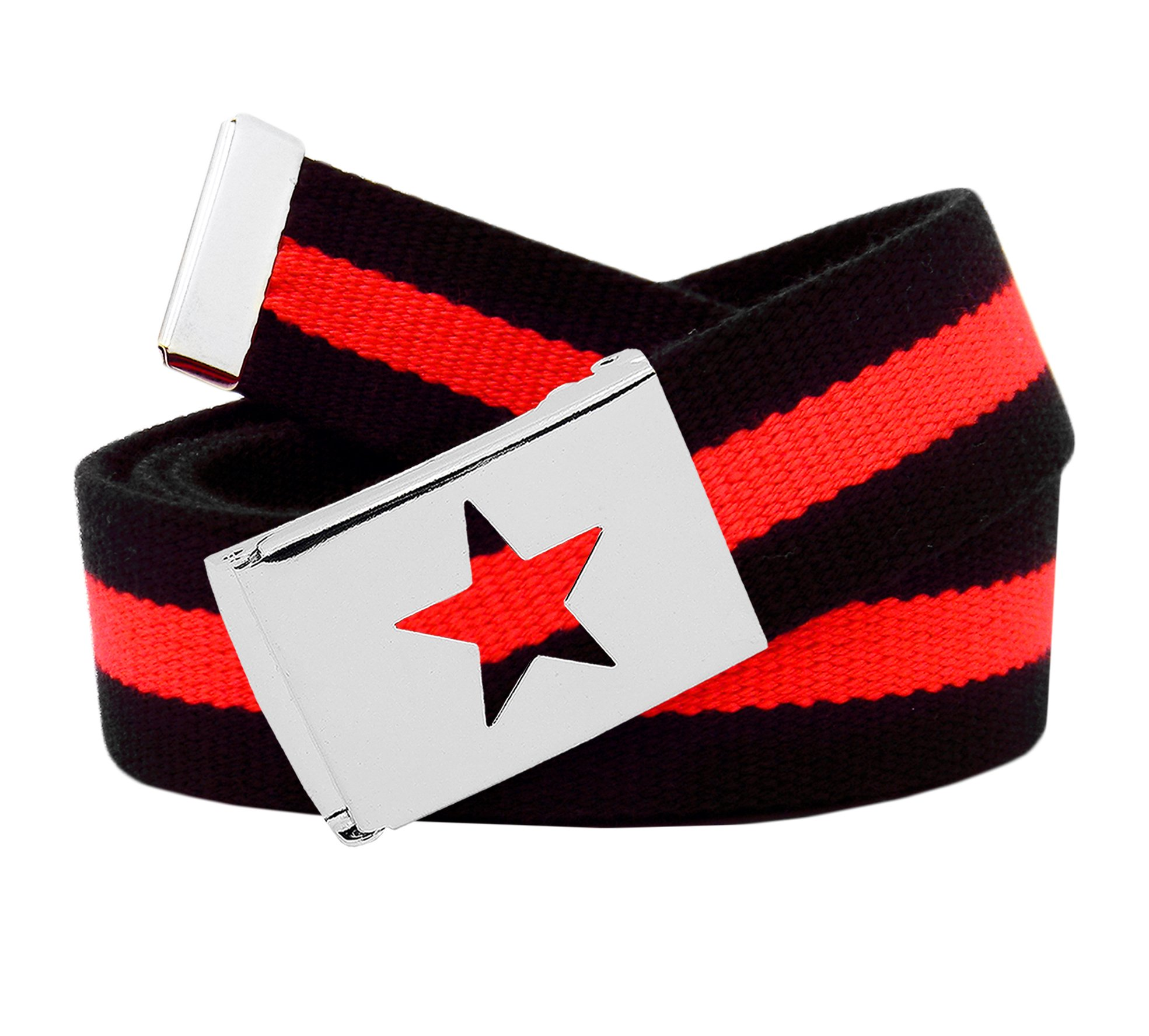 Women's Silver Flip Top Star Belt Buckle with Canvas Web Belt XXX-Large Black and Red Stripe