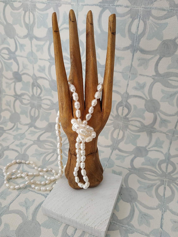 Collar perlas de rio naturales, hecho a mano de mujer,para ella, regalo de navidad, handmade.