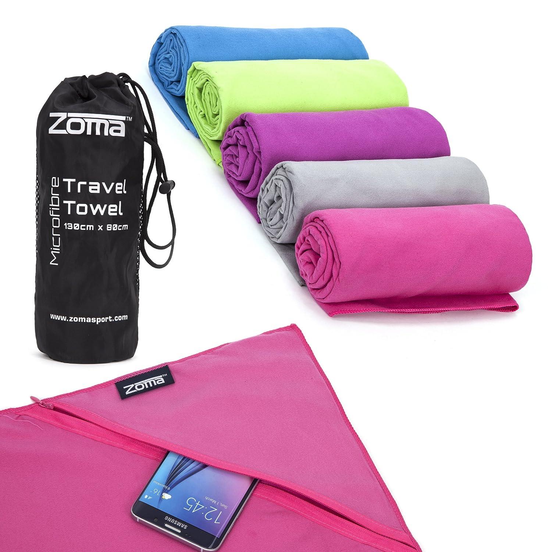 Toalla de microfibra con práctico bolsillo de cremallera Mantiene Teléfono o llaves. Ideal para viajes, entrenamiento, playa, o camping.