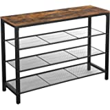 VASAGLE INDESTIC Shoe Rack, Shoe Organizer with 3 Mesh Shelves, for Hallway, Living Room, Simple Structure, Stable, Industria