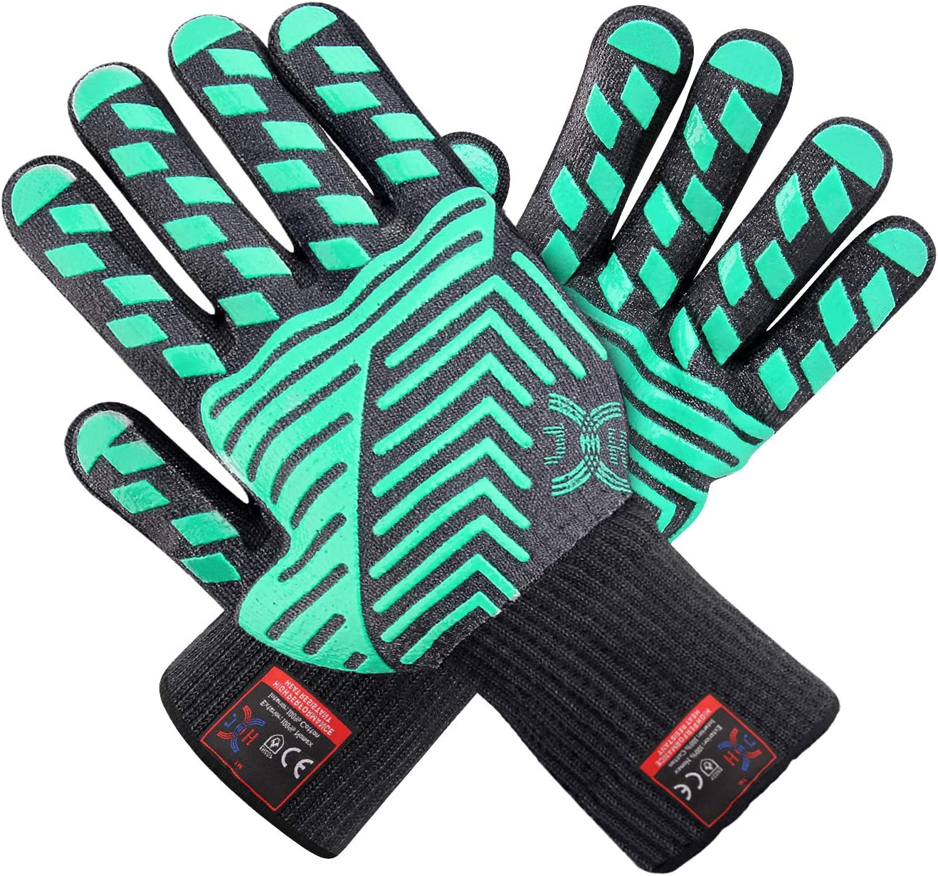 Pair of Heat Resistant Silicone Gloves Kitchen BBQ Oven Cooking Mitts Safety