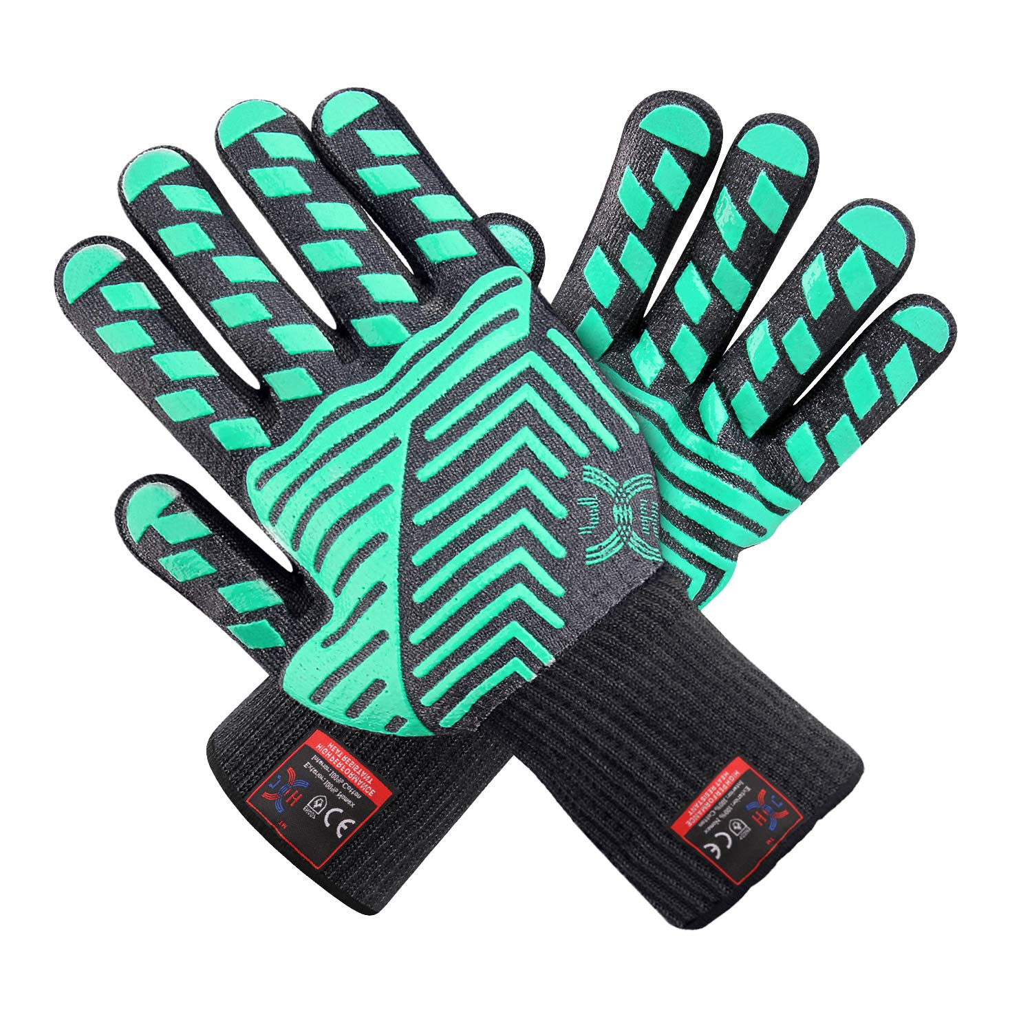 JH Heat Resistant Oven Gloves:EN407 Certified Withstand 932 °F, Double Layers Silicone Coating, BBQ Gloves & Oven Mitts for Cooking, Kitchen, Fireplace, Grilling, 1 Pair (Regular Cuff)