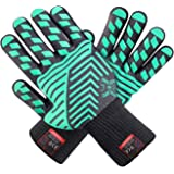 J H Heat Resistant Oven Glove:EN407 Certified 932 °F, 2 Layers Silicone Coating, Oven Mitts for Cooking, Kitchen, Fireplace,