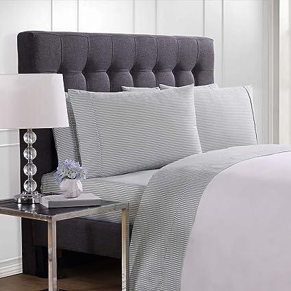 Amazon Com London Fog Charcoal Stripe Queen Sheet Set 6 Pieces