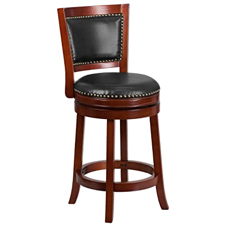 Flash Furniture 26 High Dark Cherry Wood Counter Height Stool with Walnut Leather Swivel Seat