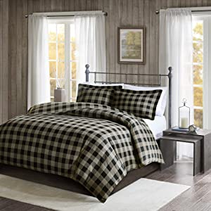 Woolrich 100% Cotton Flannel Checkered Plaid Print Button Closure Cold Weather Winter Warm Duvet Cover Bedding Set, Full/Queen Size, Black/Tan