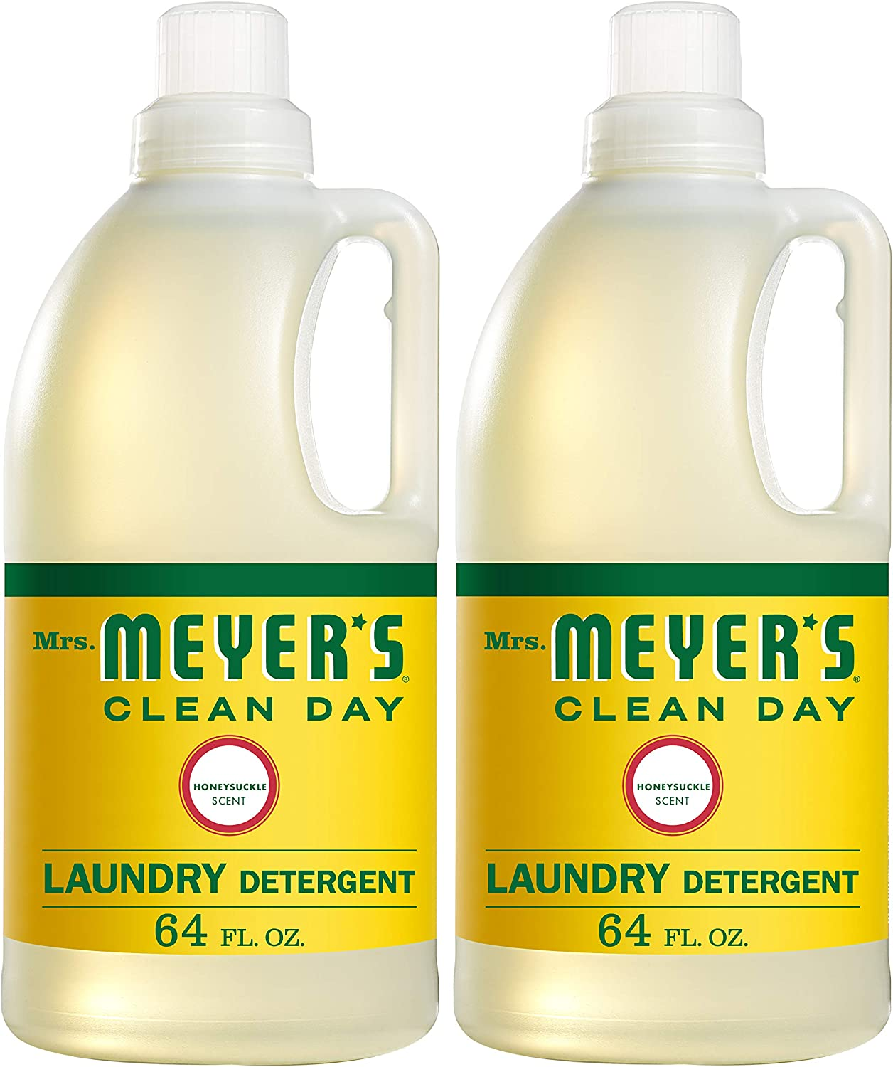 Mrs. Meyer's Clean Day Liquid Laundry Detergent, Cruelty Free and Biodegradable Formula, Honeysuckle Scent, 64 oz- Pack of 2