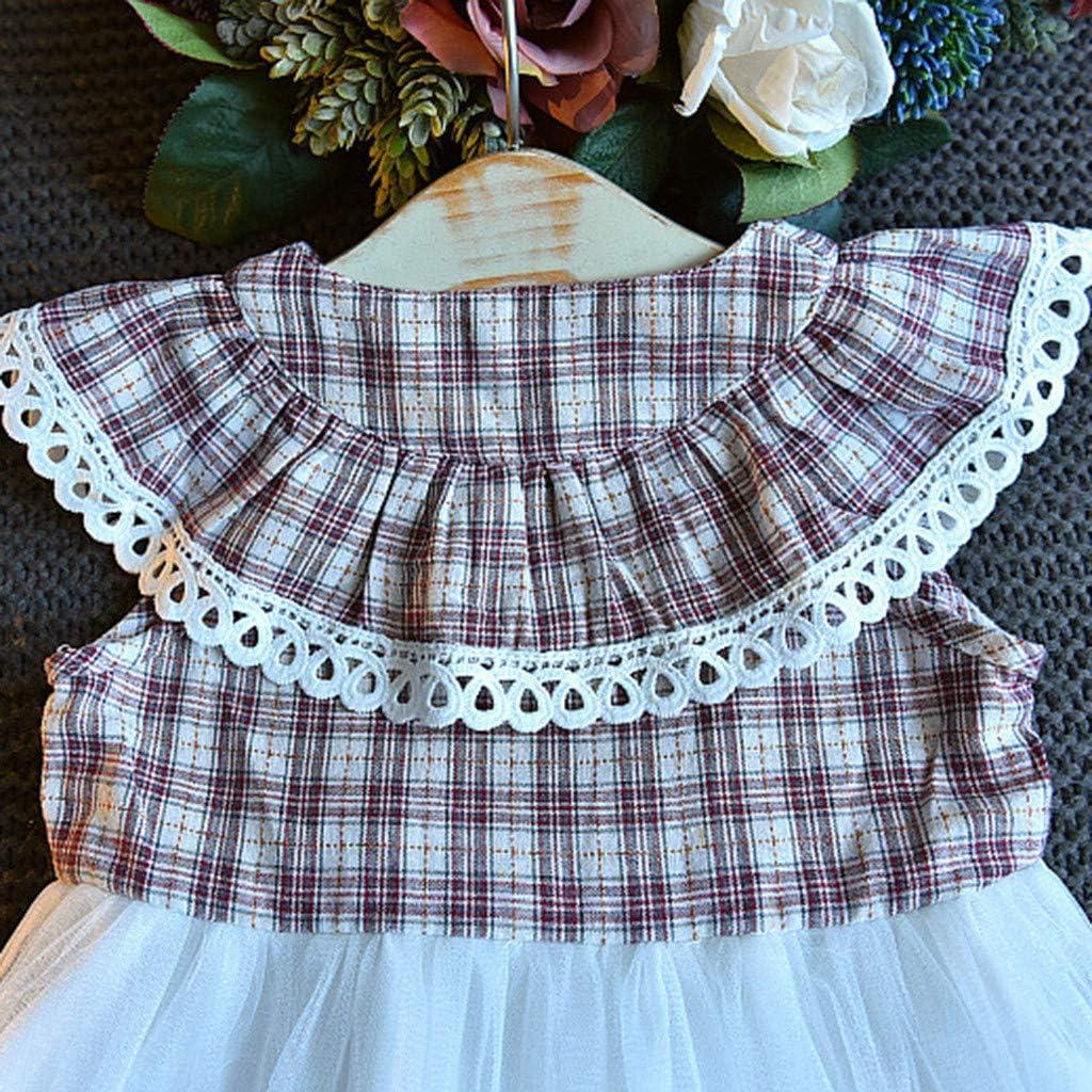 Hstore Baby Clothes Girls Sleeveless Plaid Skirt Baby Mesh Skirt Childrens Splicing Tutu