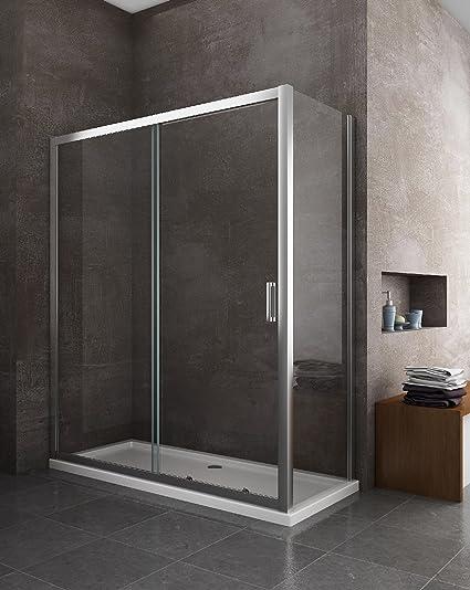 Cabina de ducha de 2 lados, cristal fijo de 70, 75, 80, 90 cm + ...