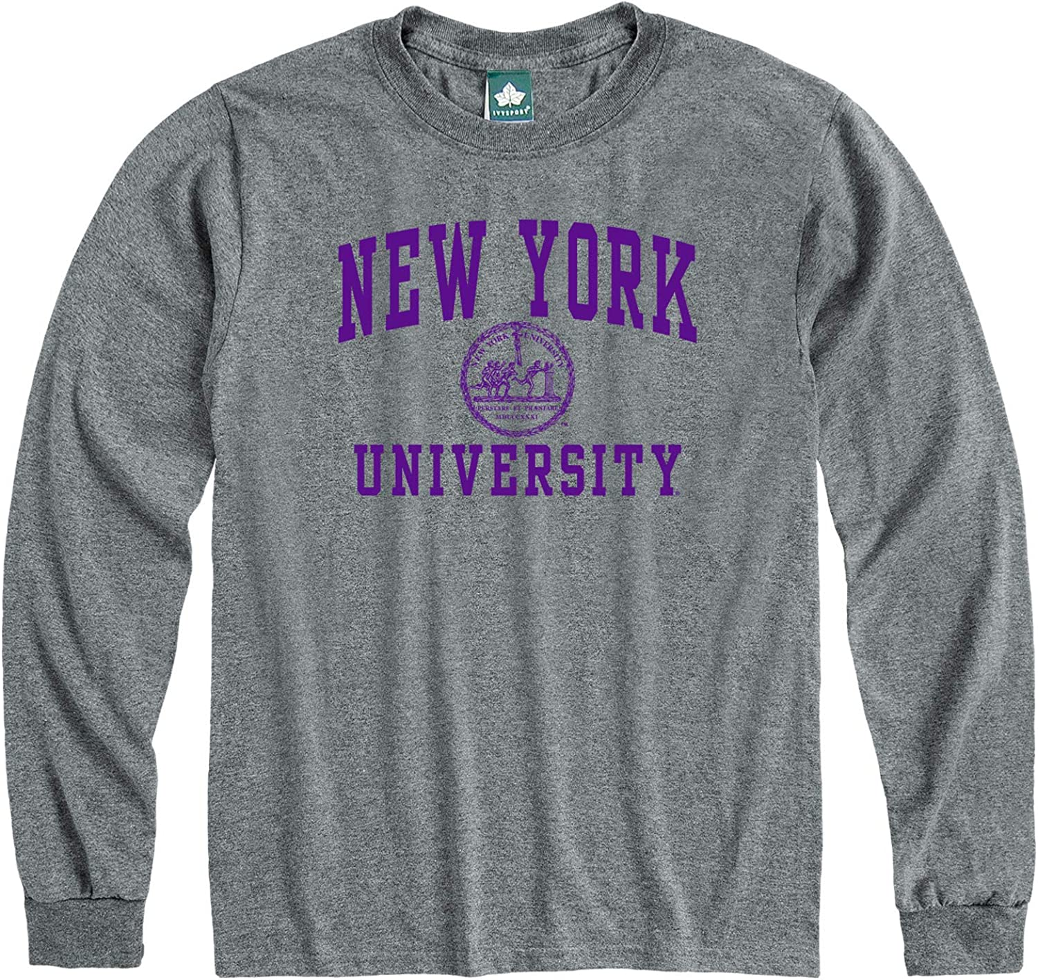 Heritage Logo Grey Ivysport Long Sleeve Cotton Adult T-Shirt NCAA Colleges and Universities