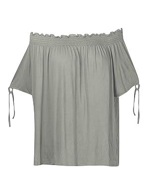 Plus Size Grey Off The Shoulder Top --Size: 2x Color: Grey
