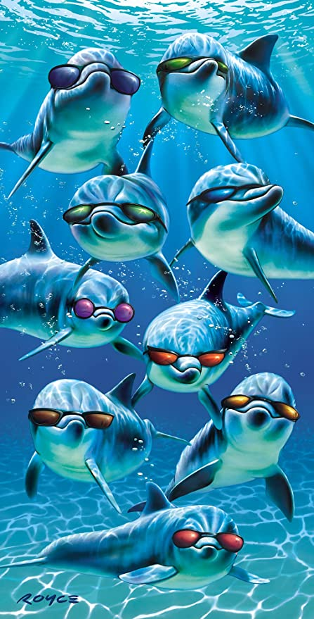 "Delfín con gafas de sol ""Mod Squad toalla 100% algodón terciopelo toalla de"