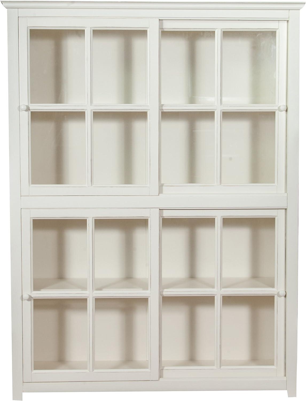 Biscottini - Estantería vitrina con puertas correderas de madera ...