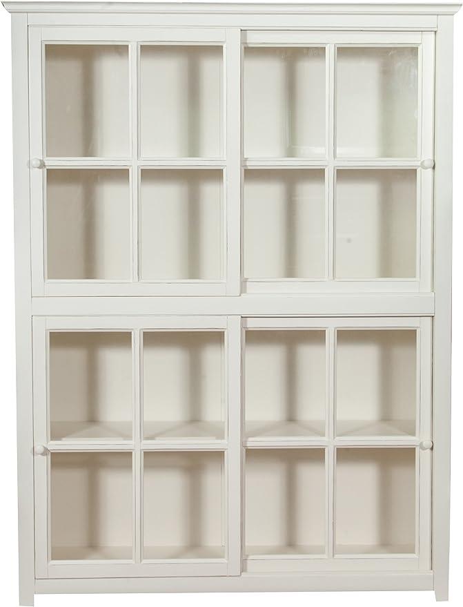Biscottini - Estantería vitrina con puertas correderas de madera maciza de tilo, acabado blanco envejecido, 154 x 37 x 212 cm: Amazon.es: Hogar