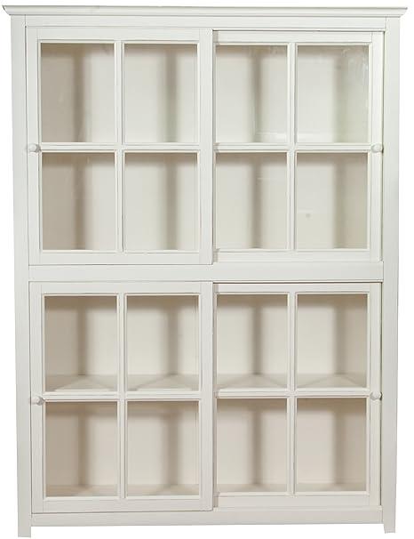 Biscottini Libreria vetrina con ante scorrevoli in legno massello di ...