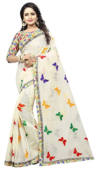 4d52adf275 Online Bazaar Women's Chanderi Cotton Embroidered Butterfly Saree With  Blouse Piece: Amazon.in: Clothing & Accessories