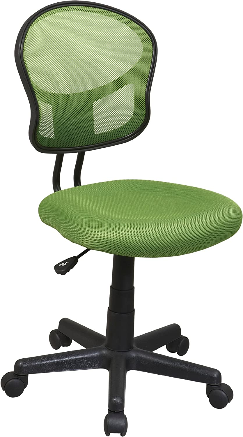 OSP Home Furnishings Mesh Back Armless Task Chair with Padded Fabric Seat, Green