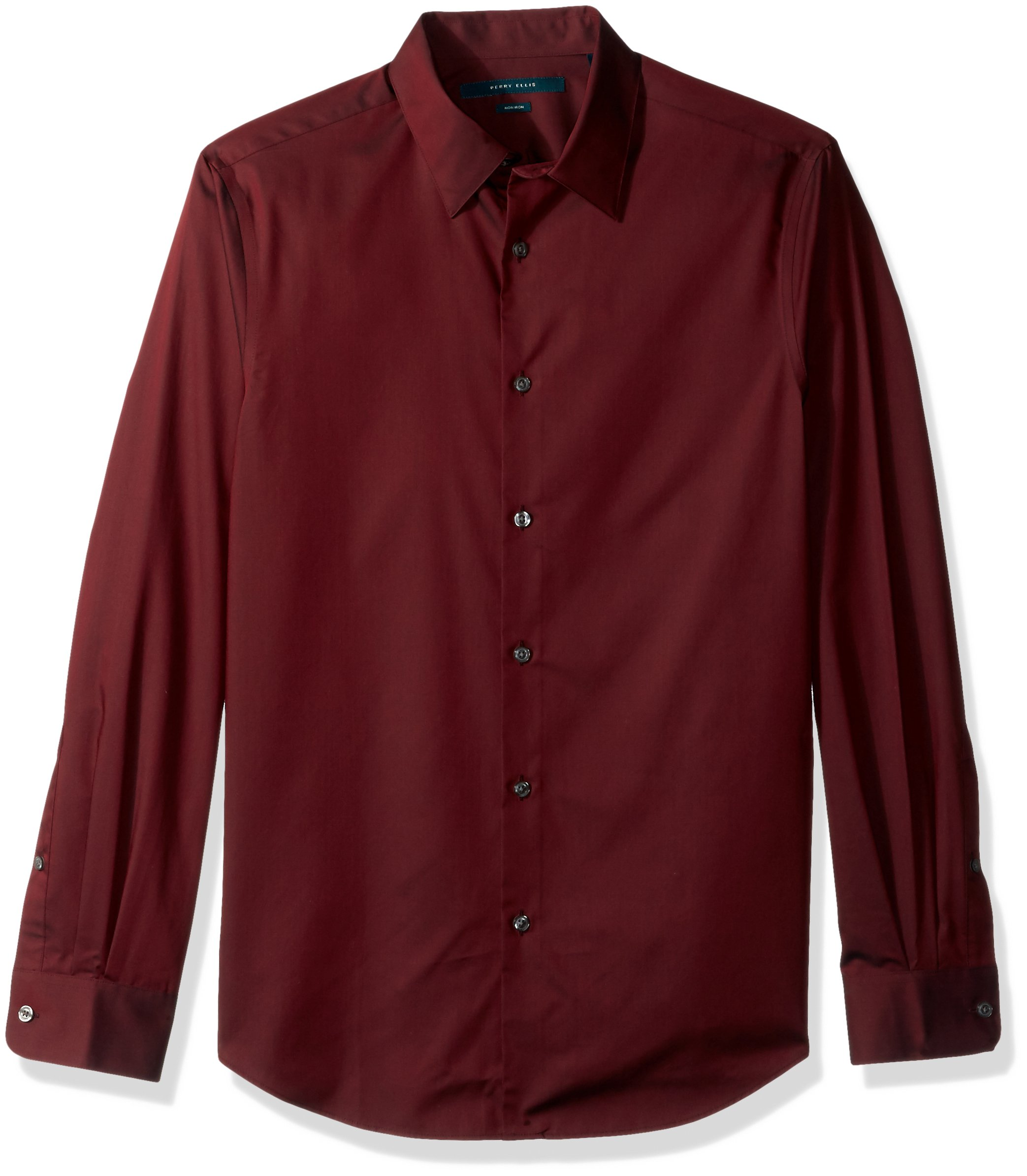 Perry Ellis Men's Travel Luxe Solid Non-Iron Twill Shirt, Burnt Russet-4CFW4000, Small