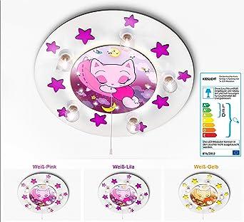 Lampe Für Kinderzimmer | Kidslicht Kinderlampe Led Nachtlicht Schlafende Katzchen 032 2 Wli