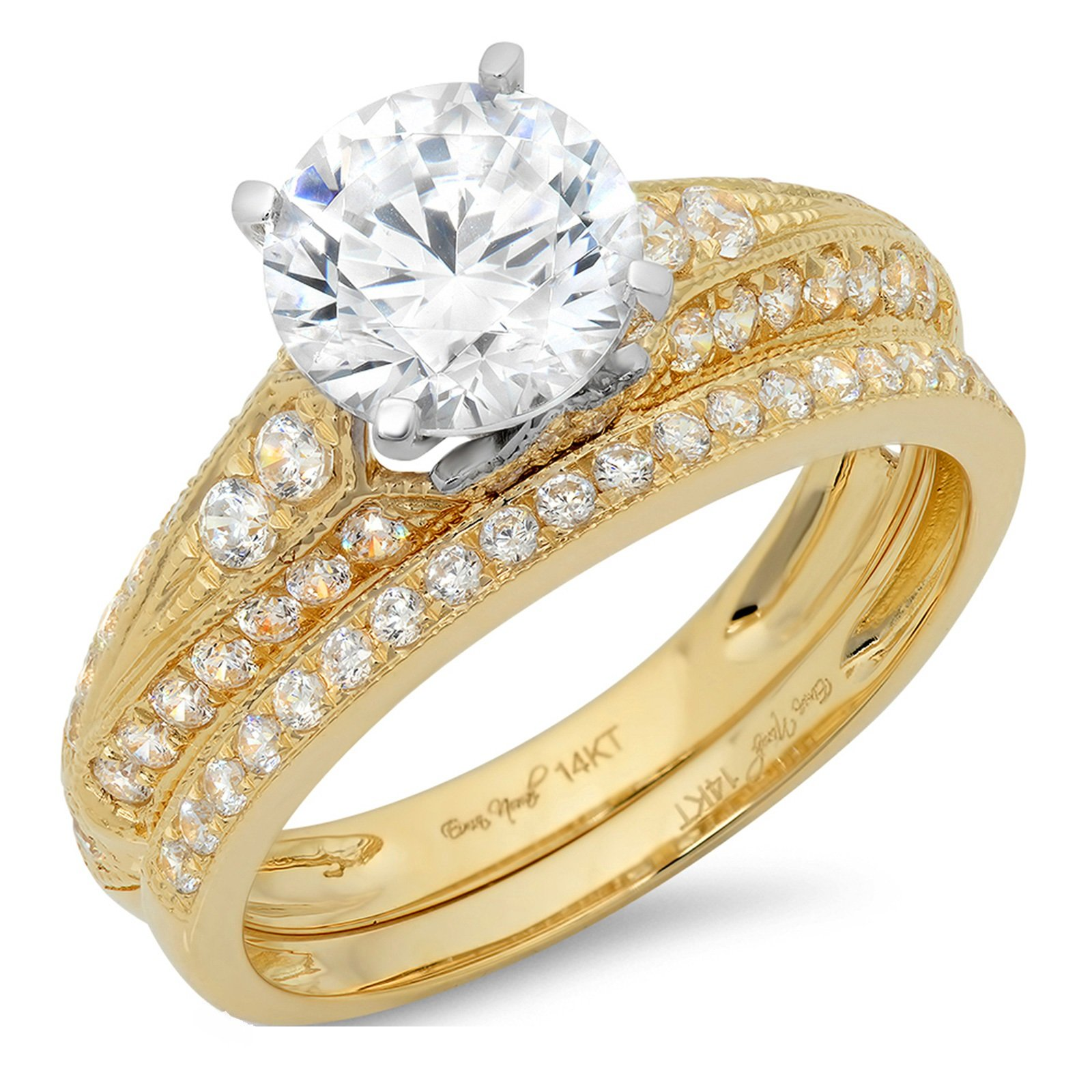 2.3 Ct Round Cut Pave Halo Bridal Engagement Wedding Anniversary Ring Band Set 14K Yellow White Gold, Size 8.75, Clara Pucci