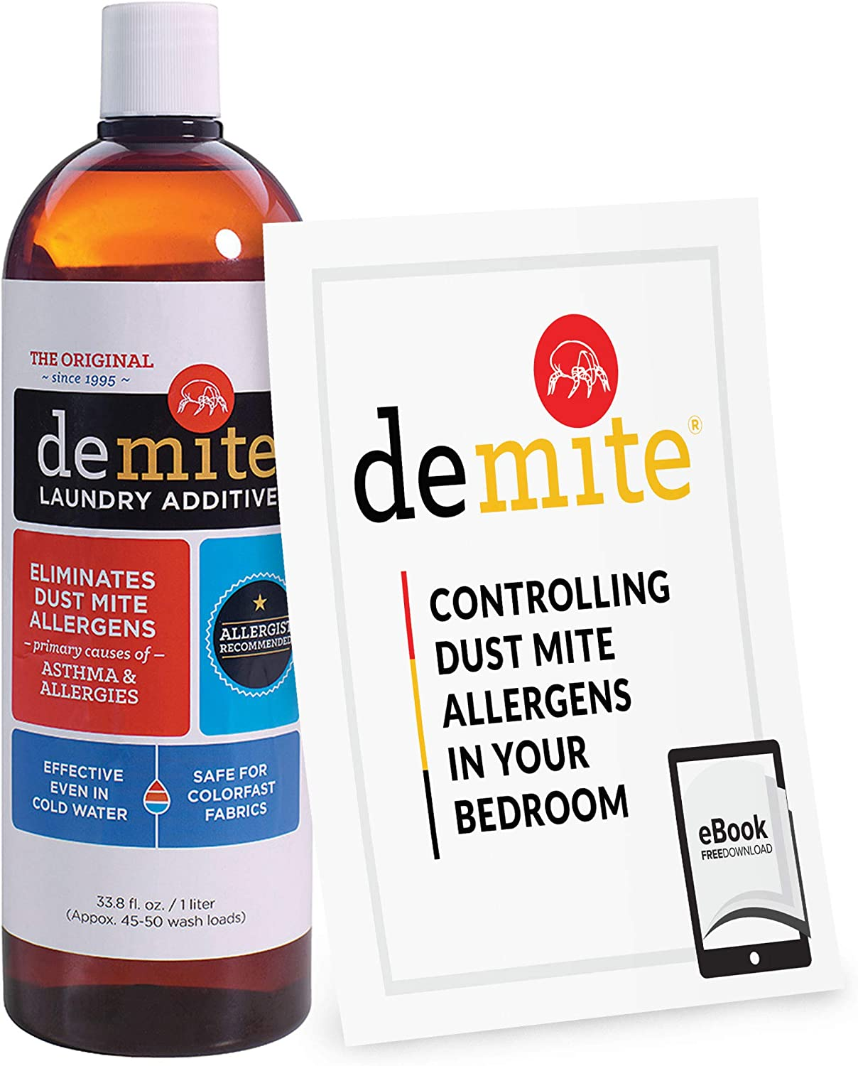 DeMite Laundry Additive (1 Liter) Allergen Eliminator with Exclusive Bonus eBook - Expert Pro Tips to Eliminate Dust Mite Allergens