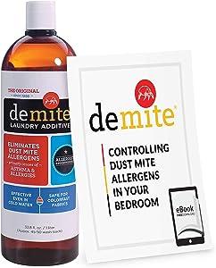 DeMite Laundry Additive (1 Liter) Allergen Eliminator with Exclusive Bonus eBook - Expert Pro Tips to Eliminate Dust Mite Allergens