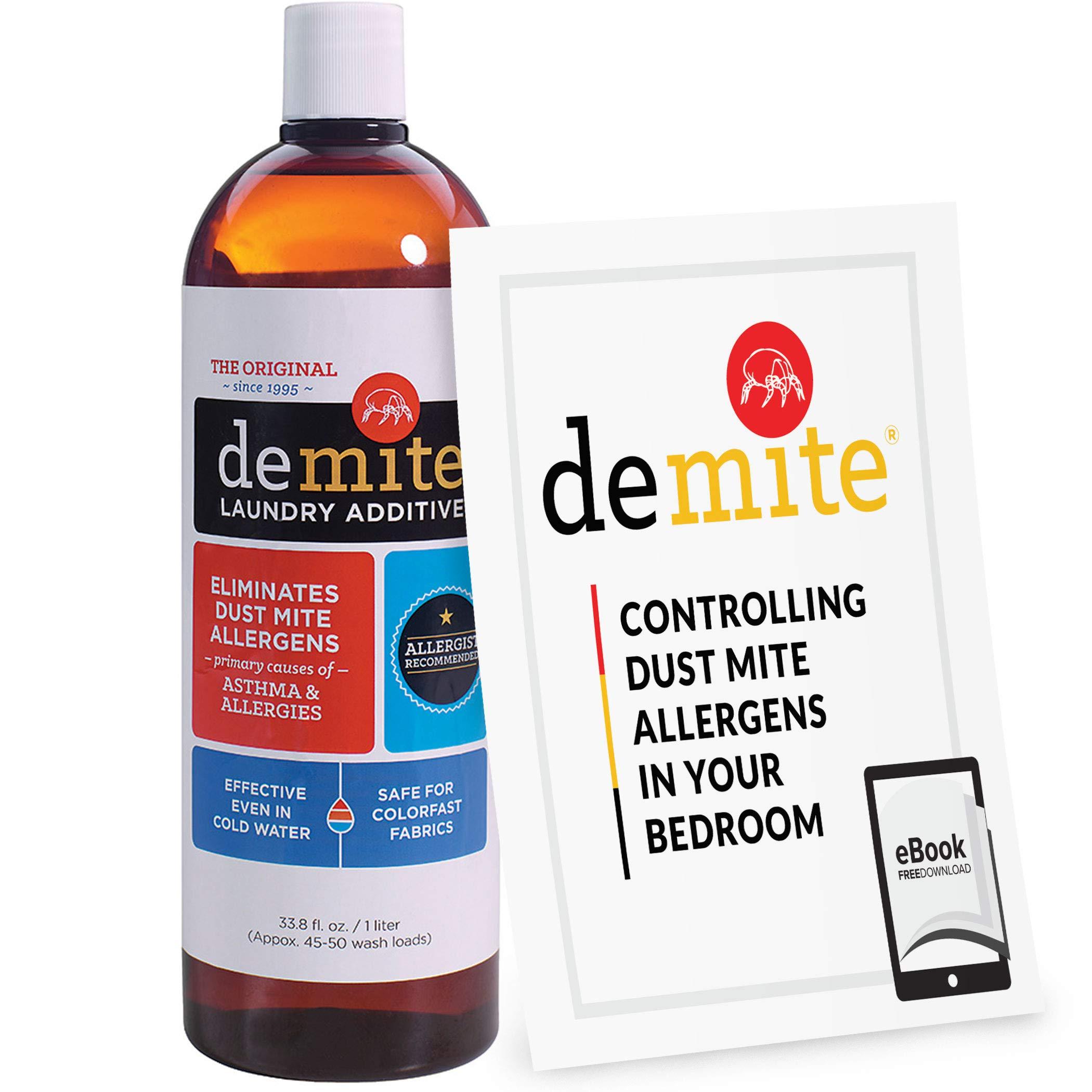 DeMite Laundry Additive (1 Liter) Allergen Eliminator with Bonus eBook - Expert Pro Tips to Eliminate Dust Mite Allergens by DeMite