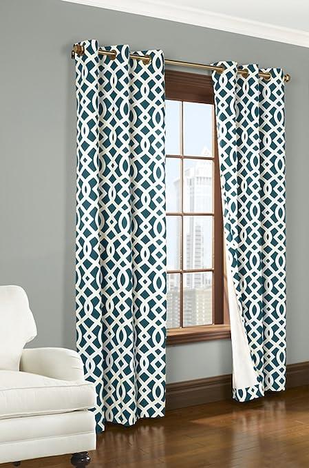Trellis Thermalogic Teal 80quot X 63quot Grommet Top Curtains