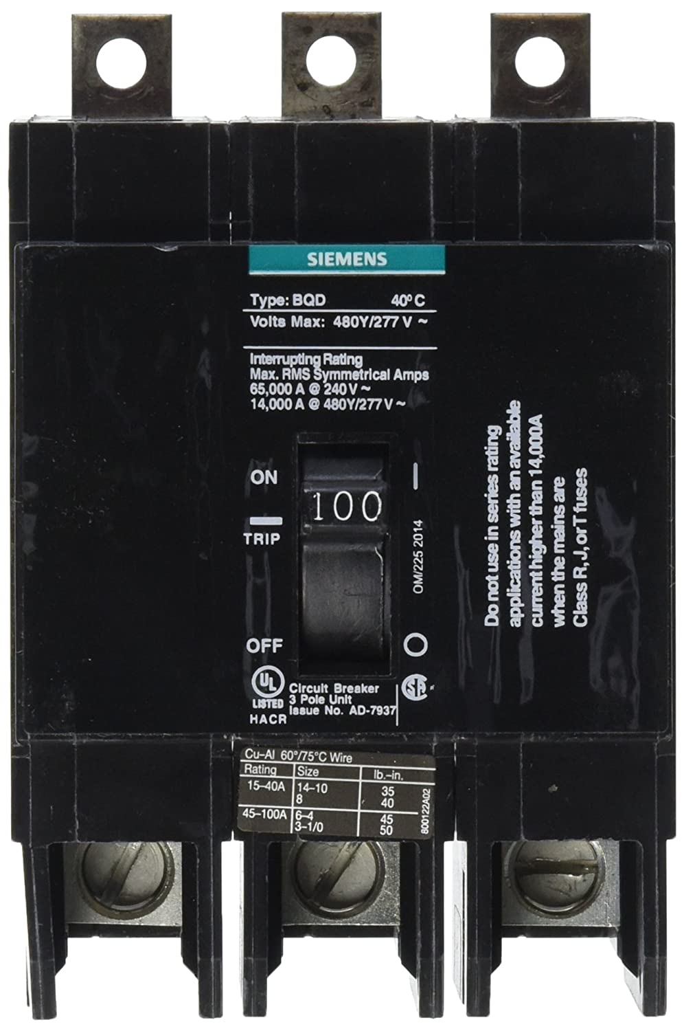 Siemens BQD3100 100-Amp Three Pole 480Y/277V AC 14KAIC Bolt in ...
