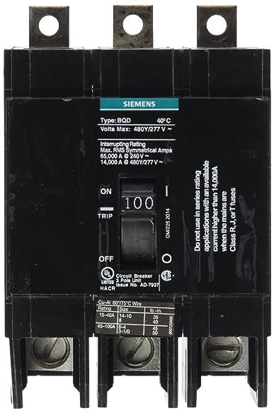 Siemens BQD3100 100-Amp Three Pole 480Y/277V AC 14KAIC Bolt in Breaker