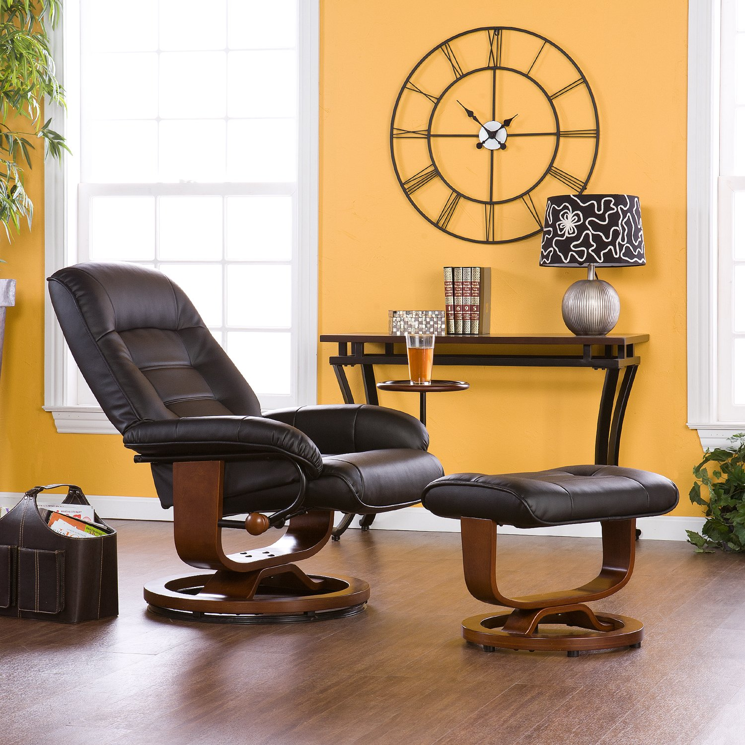 Amazon.com Adjustable Black Leather Recliner and Ottoman  Office Chair Kitchen u0026 Dining & Amazon.com: Adjustable Black Leather Recliner and Ottoman  Office ... islam-shia.org