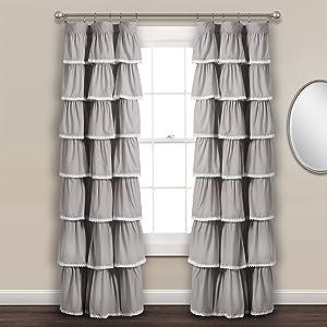 "Lush Decor Lace Ruffle Window Curtain Panel, 84"" x 52"", Gray"
