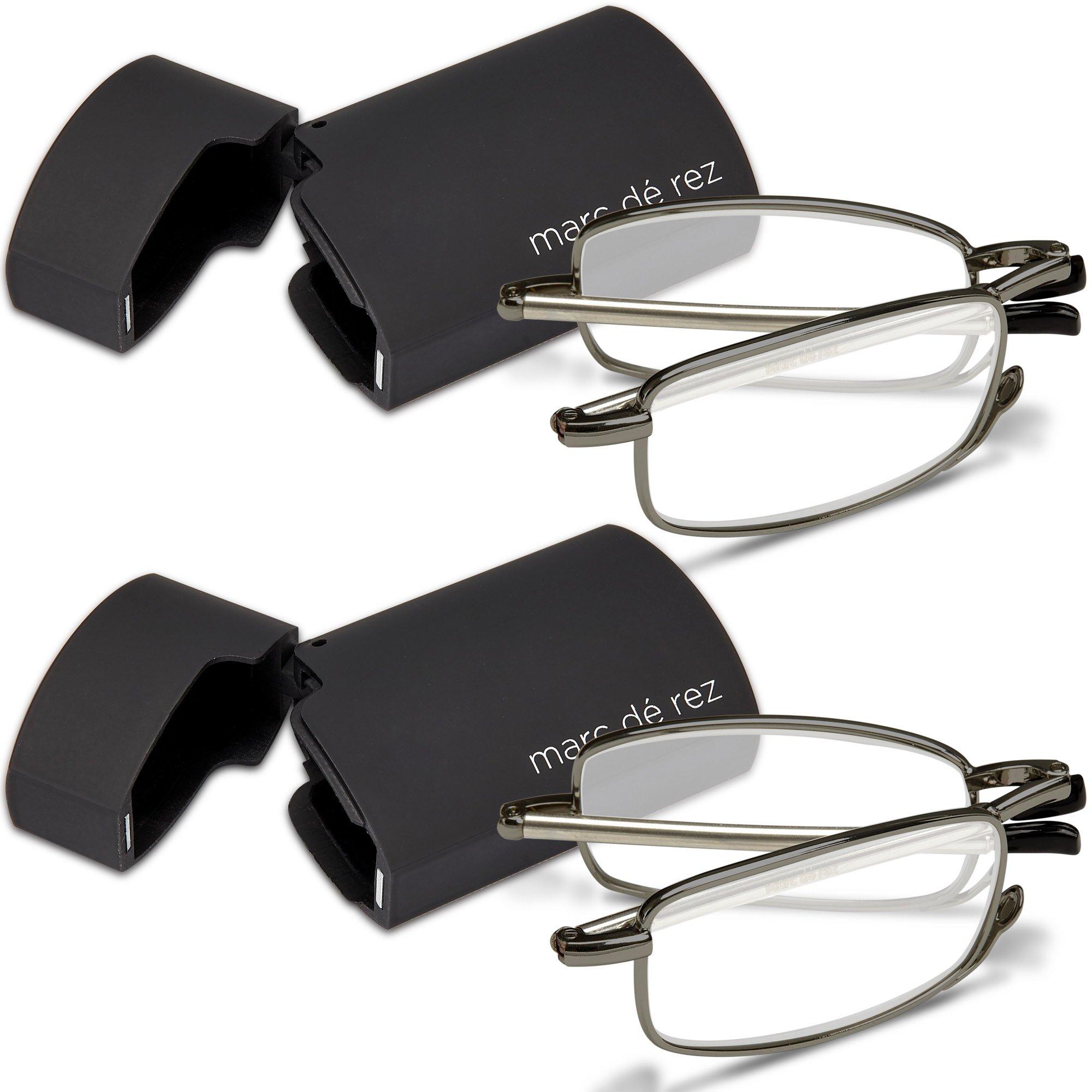 Marc De Rez Foldable Reading Glasses +1.75-2 Pack - Mini Flip Top Cases - Gunmetal Grey Folding Prescription Mini Reading Glasses For Men and Women by Marc De Rez
