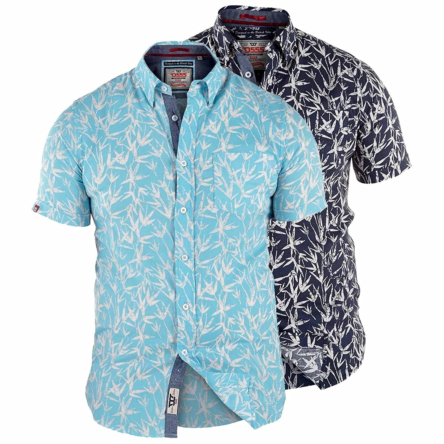 Mens D555 Kingsize Mens Hawaiian Leaf Print Short Sleeve Shirt 3XL 4XL 5XL 6XL
