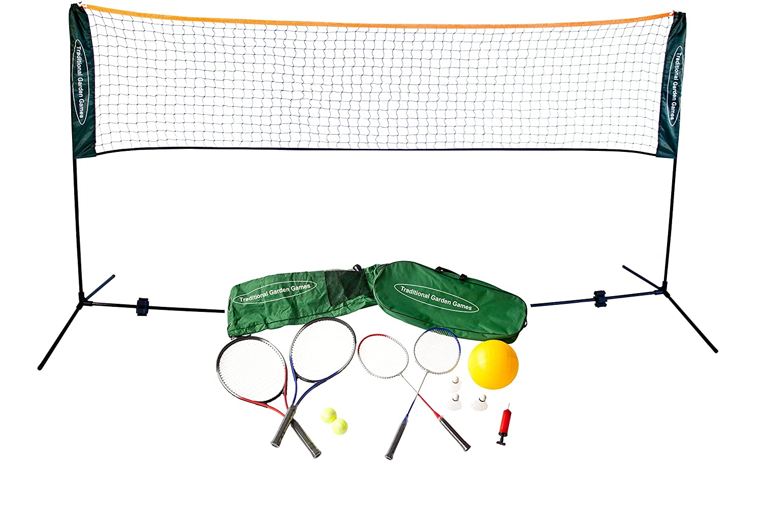 Traditional Garden Games 3 m Badminton Volleyball und Tennis Spielset