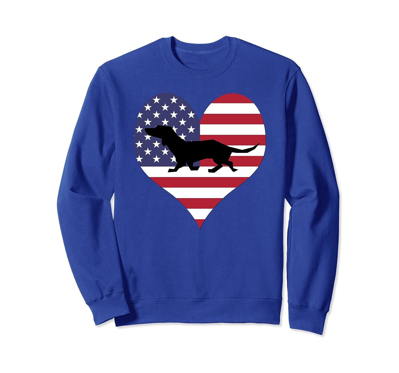 American Heart Dachshund Dog USA Flag 4th July Sweatshirt-AZP