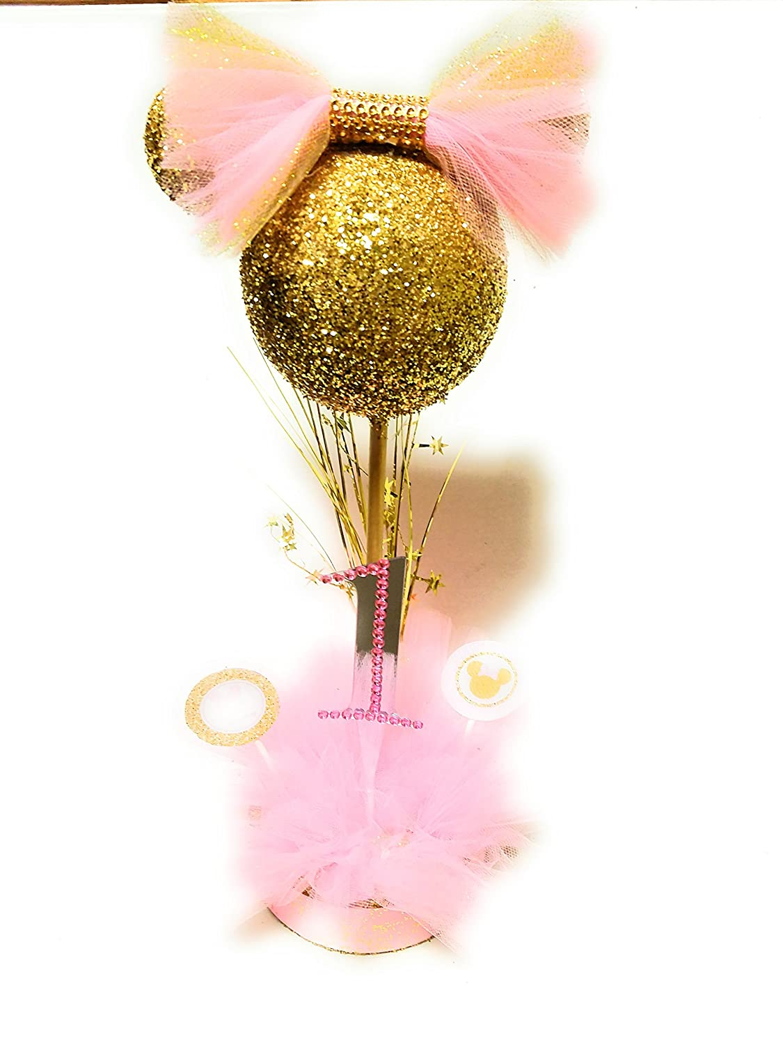 Gold and Pink Minnie Mouse Centerpiece