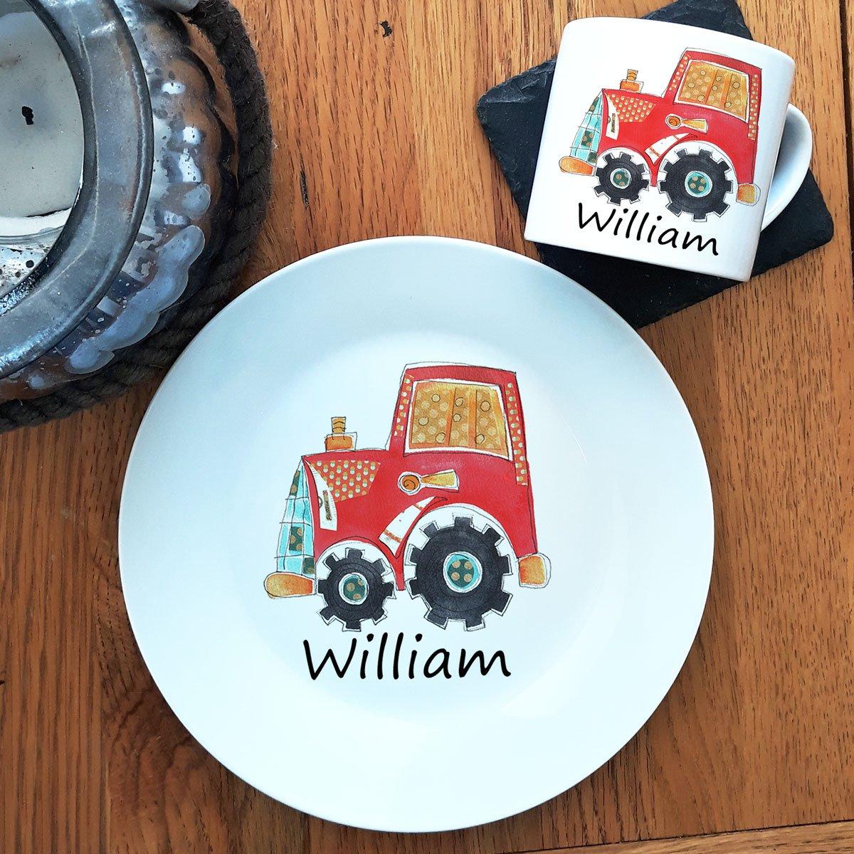 Personalised Dinner Set. Baby Gift, Personalised Keepsake, Toddler Dinner Set, Tractor Ceramic Plate & Cup tigerlilyprints ltd