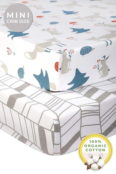 "100/% Cotton Waterproof Pack N Play Mattress Sheets for Mini Crib 2 Pack 39""x27"""