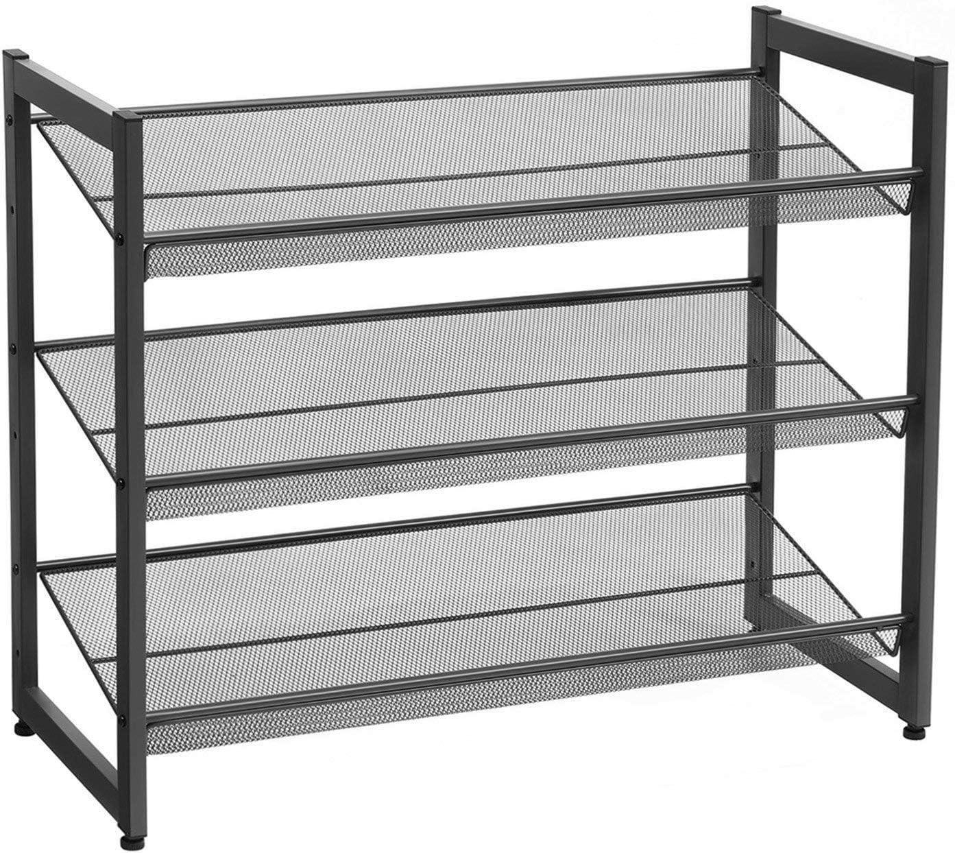 71 x 28 x 73,5 cm aus Oxford-Gewebe Wohnzimmer SONGMICS Schuhregal mit 4 verstellbaren Ablagen schwarz LSC04BK Schlafzimmer Schuhst/änder aus Metall erweiterbar Ankleidezimmer stapelbar