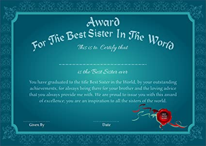 printelligent paper certificate award for the best sister in the