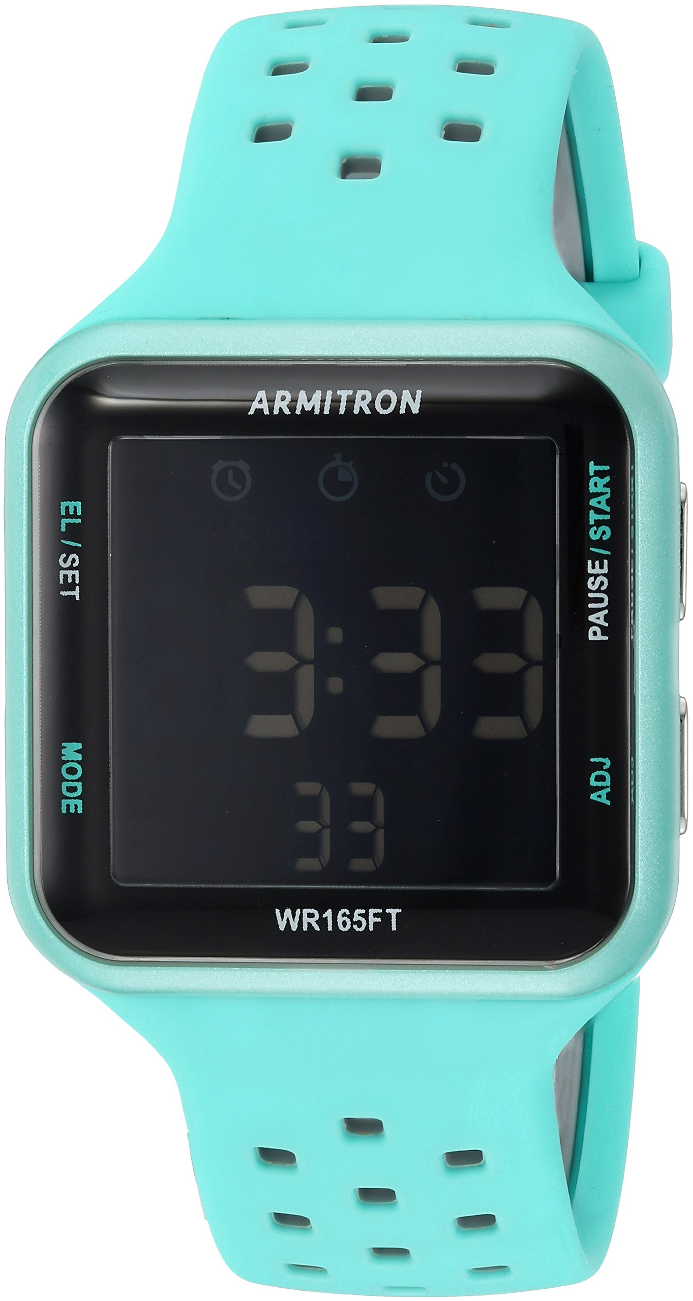 Armitron Sport Unisex 40/8417LBL Grey Accented Digital Chronograph Light Blue Perforated Silicone Strap Watch
