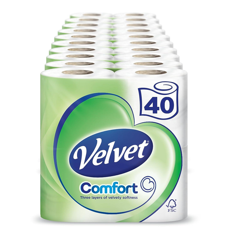Velvet - paquete de 40 rollos de papel para WC blanco (Pack de 10 paquetes x 4 rollos): Amazon.es: Salud y cuidado personal